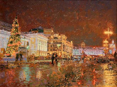 Картина Семена Кожина «Новый год. Вид на гостиницу Метрополь»