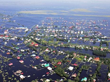 Наводнение в Амурской области. Съемка с вертолета. Фото: РИА Новости